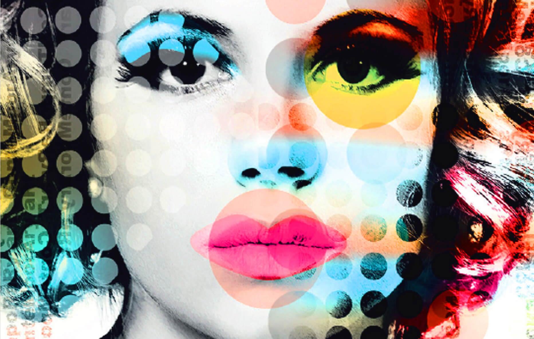 Visage de femme trame pop art