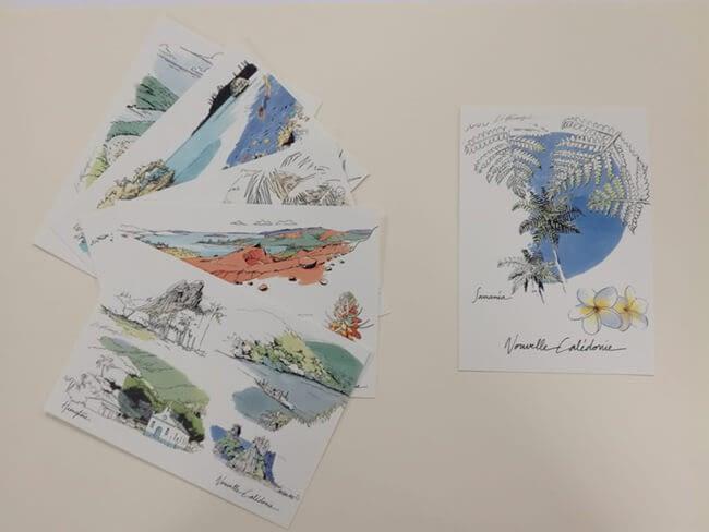 Cartes postales avec illustrations pastelles