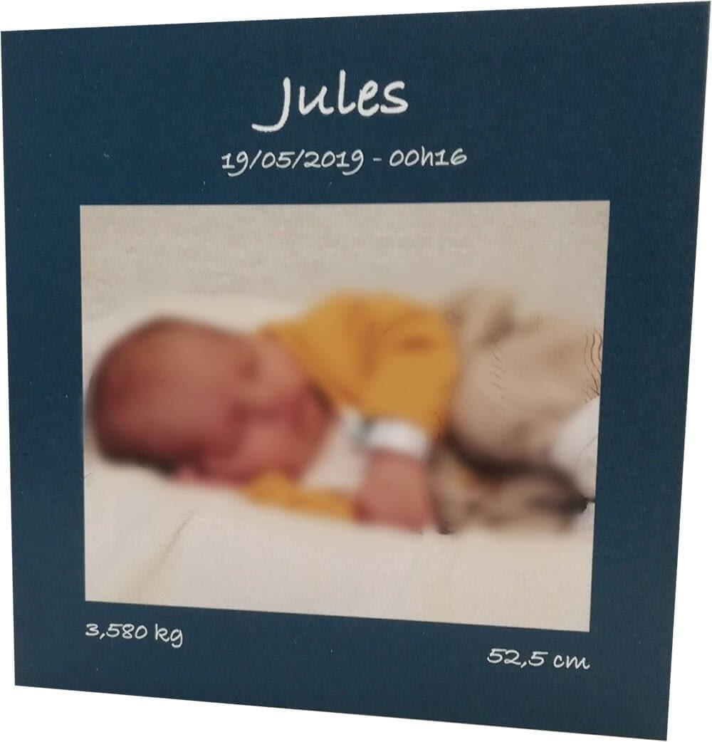 Faire part de naissance bleu avec photo de bébé