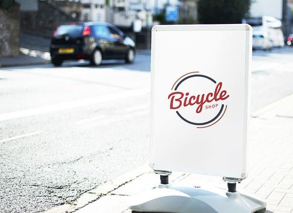 Stop trottoir rouge, noir et blanc avec logo Bicycle Shop
