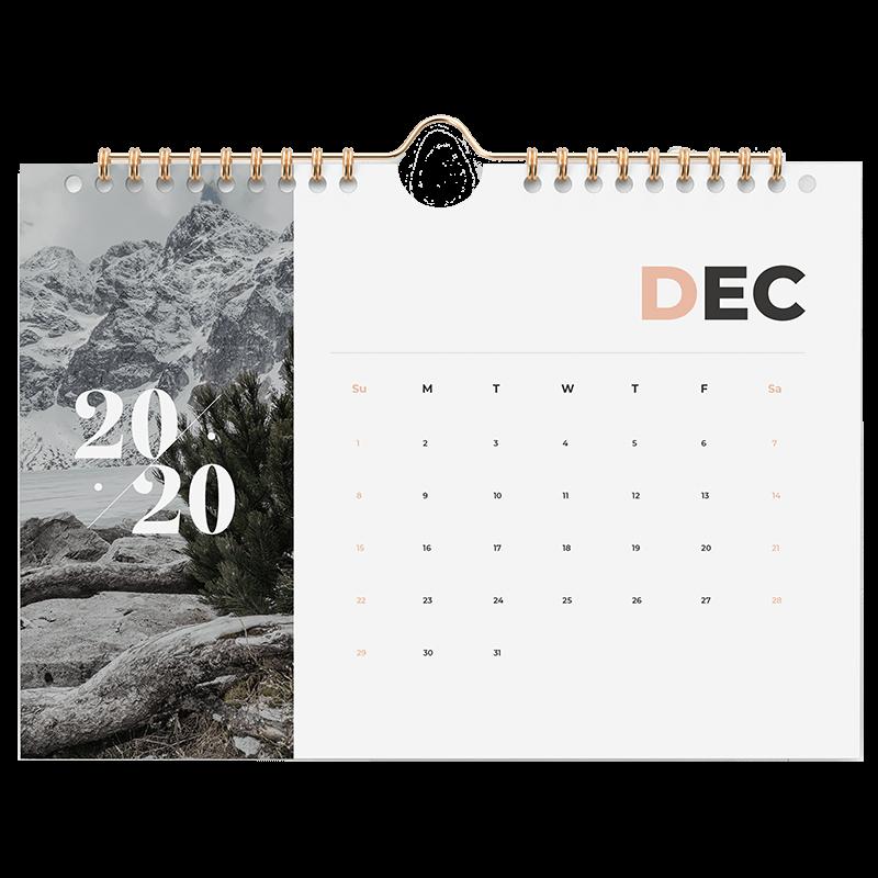 Calendrier relié à spirale décembre 2020 avec photo de montage